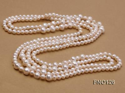 5-6mm natural white round freshwater pearl with big pearls necklace FNO126 Image 5