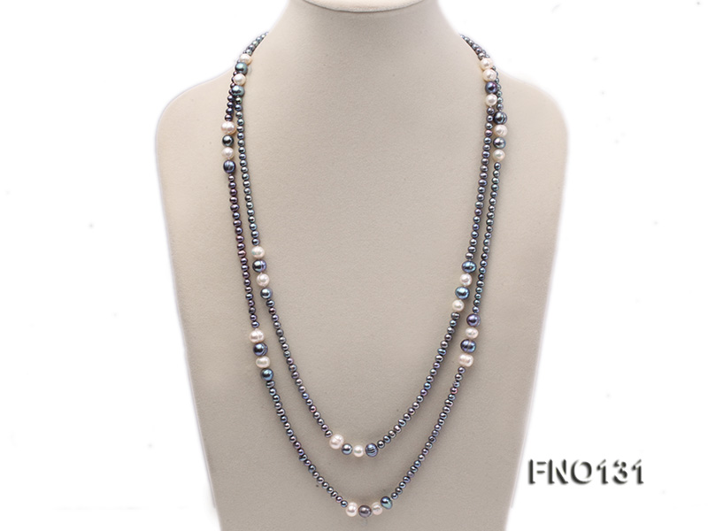 5-6mm multi-color round freshwater pearl necklace big Image 1