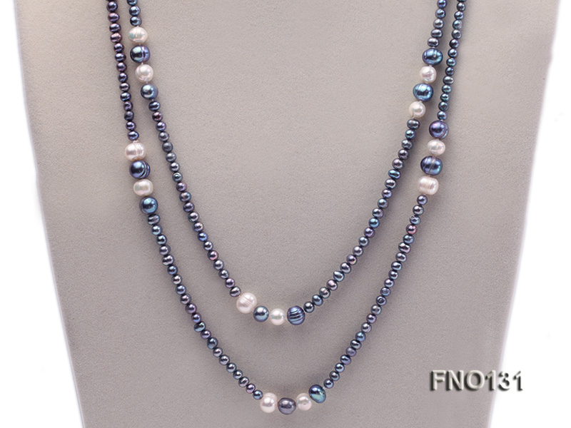 5-6mm multi-color round freshwater pearl necklace big Image 2