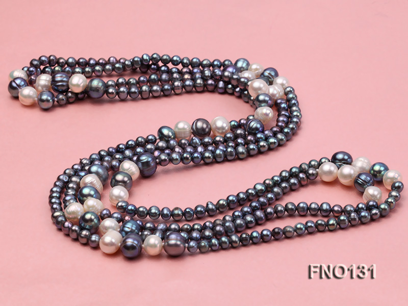 5-6mm multi-color round freshwater pearl necklace big Image 3