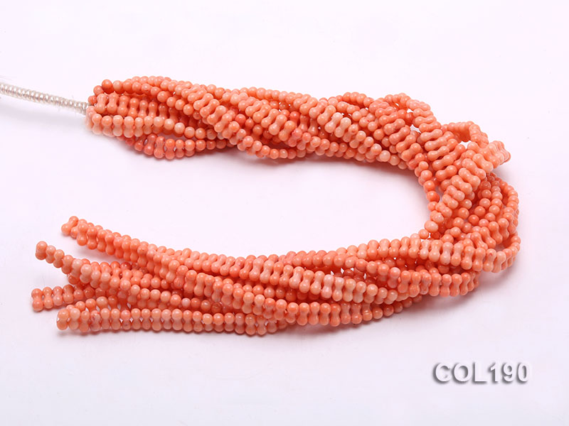 Wholesale 5x10mm Bone-shaped Light-orange Coral Beads Loose String big Image 3