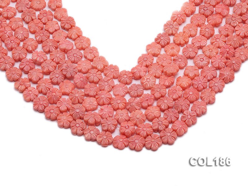 Wholesale 11mm Flower-shaped Pink Coral Beads Loose String big Image 1