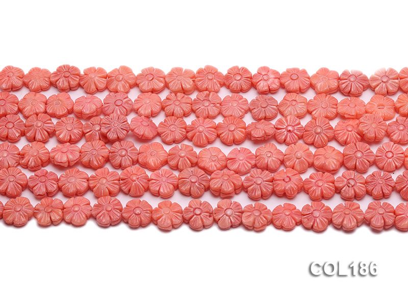 Wholesale 11mm Flower-shaped Pink Coral Beads Loose String big Image 2