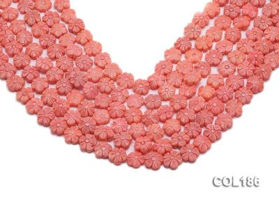Wholesale 11mm Flower-shaped Pink Coral Beads Loose String COL186 Image 1