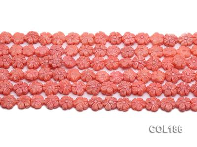 Wholesale 11mm Flower-shaped Pink Coral Beads Loose String COL186 Image 2