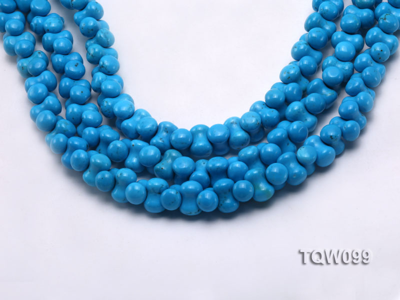 Wholesale 8x12.5mm Bone-shaped Blue Turquoise Beads String big Image 1