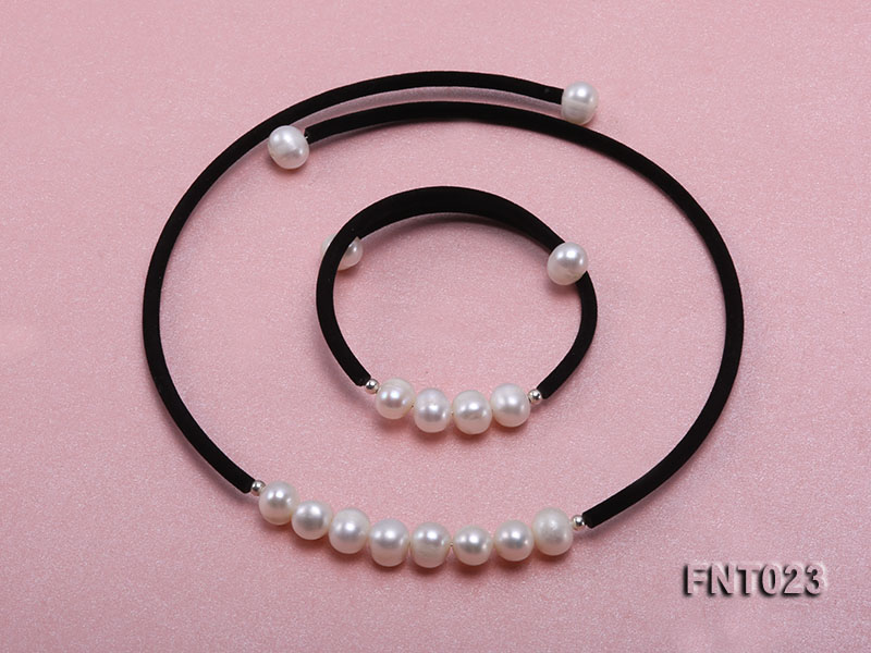 8-9mm White Cultured Freshwater Pearl Necklace and Bracelet big Image 1