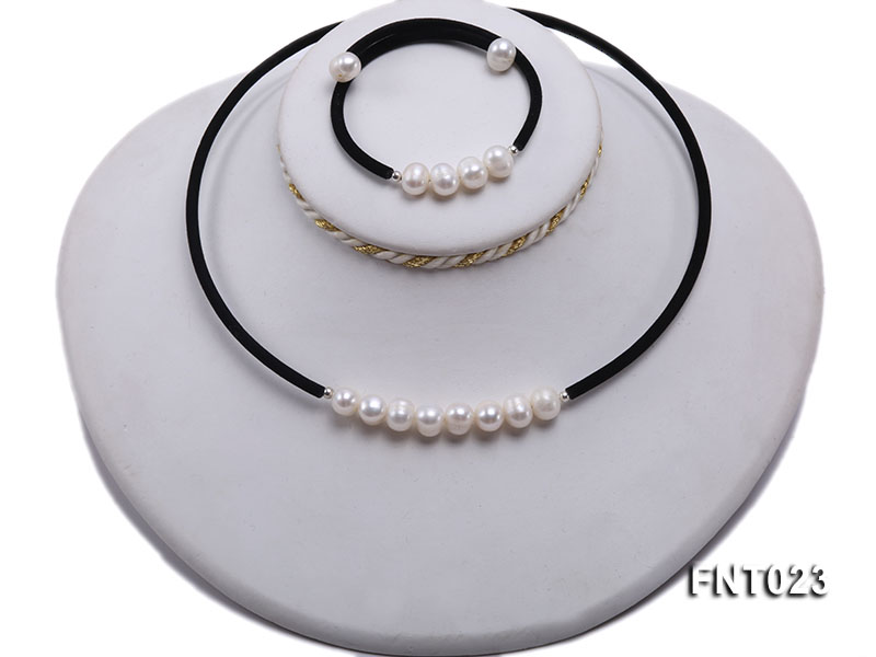 8-9mm White Cultured Freshwater Pearl Necklace and Bracelet big Image 5