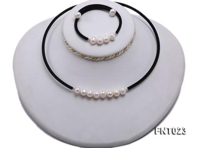 8-9mm White Cultured Freshwater Pearl Necklace and Bracelet FNT023 Image 5