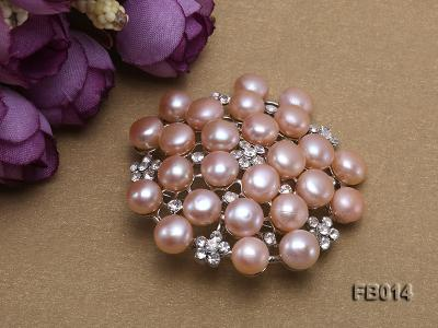Gold Plated Brooch with Freshwater Pearls and Shining Rhinestone Beads FB014 Image 3