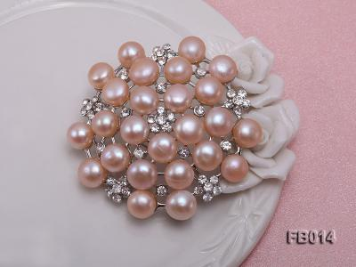Gold Plated Brooch with Freshwater Pearls and Shining Rhinestone Beads FB014 Image 4