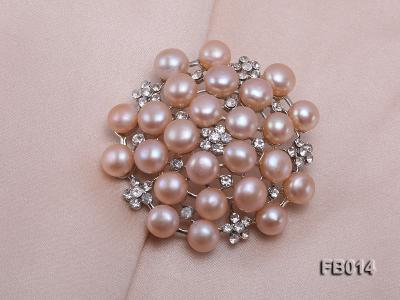 Gold Plated Brooch with Freshwater Pearls and Shining Rhinestone Beads FB014 Image 5