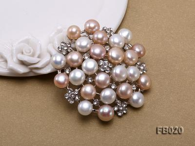 Gold Plated Brooch with Freshwater Pearls and Shining Rhinestone Beads FB020 Image 3