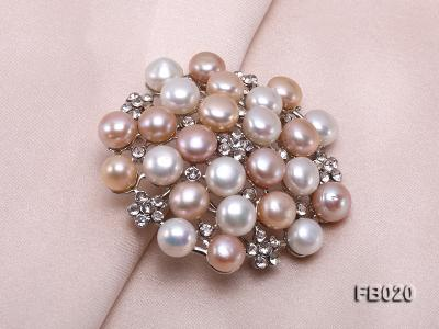 Gold Plated Brooch with Freshwater Pearls and Shining Rhinestone Beads FB020 Image 5