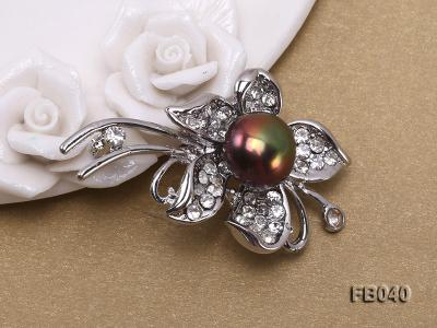 Gold Plated Brooch with Freshwater Pearl and Shining Rhinestone Beads FB040 Image 3