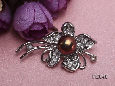 Gold Plated Brooch with Freshwater Pearl and Shining Rhinestone Beads FB040 Image 4