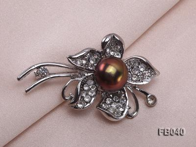 Gold Plated Brooch with Freshwater Pearl and Shining Rhinestone Beads FB040 Image 5