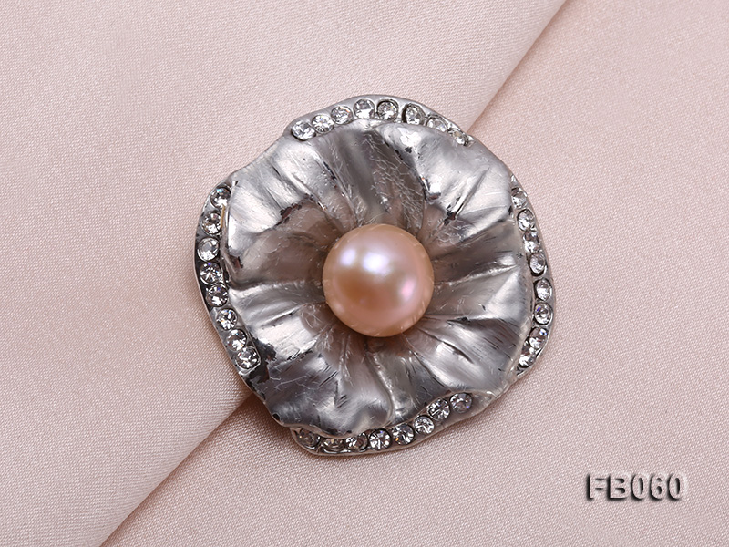 Gold Plated Brooch with Freshwater Pearl and Rhinestone Beads big Image 4
