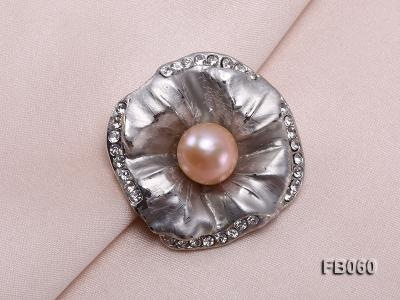 Gold Plated Brooch with Freshwater Pearl and Rhinestone Beads FB060 Image 4