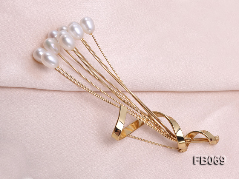 Gold Plated Brooch with 6x8mm White Oval Freshwater Pearls big Image 4