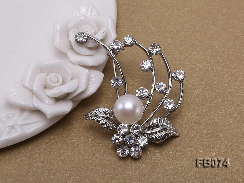 Gold Plated Brooch with Freshwater Pearl and Rhinestone Beads big Image 3