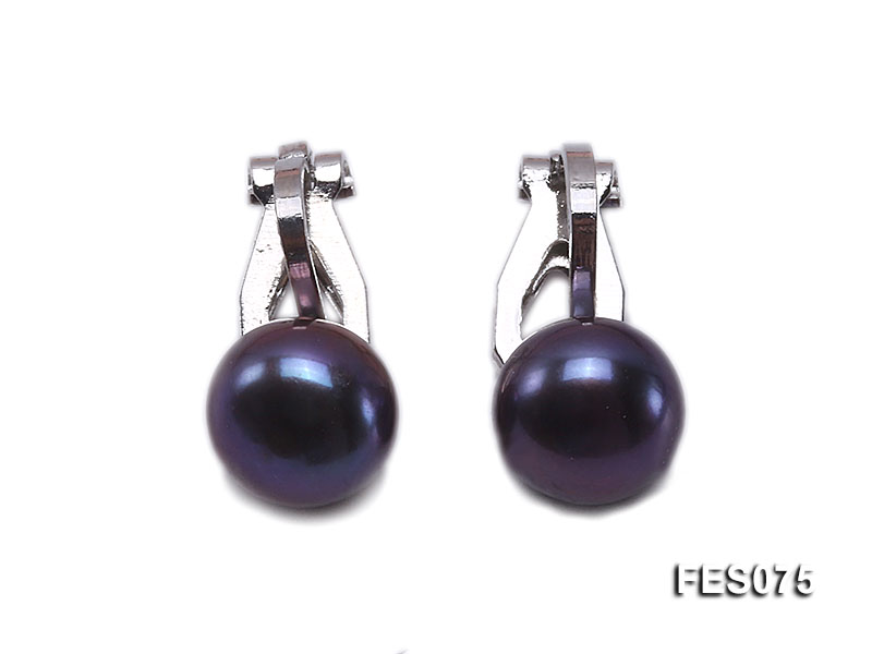 9.5mm Black Flat Cultured Freshwater Pearl Clip-on Earrings big Image 1