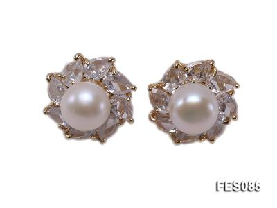 9.5mm White Flat Cultured Freshwater Pearl Earrings FES085 Image 1