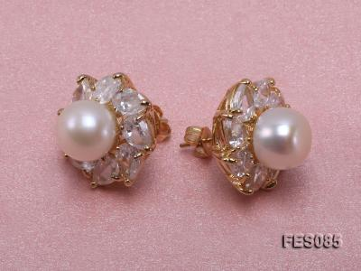9.5mm White Flat Cultured Freshwater Pearl Earrings FES085 Image 3