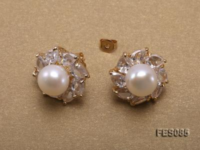 9.5mm White Flat Cultured Freshwater Pearl Earrings FES085 Image 4