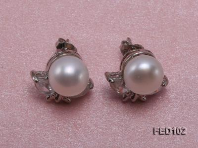 9.5mm White Flat Freshwater Pearl Earrings FES102 Image 1