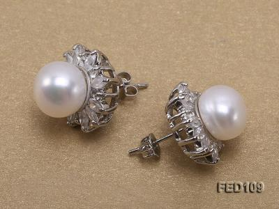 10mm White Flat Freshwater Pearl Earrings FES109 Image 3