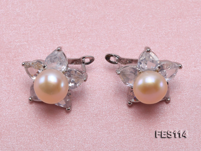 Flower-shaped Pink Freshwater Pearl Earrings big Image 1