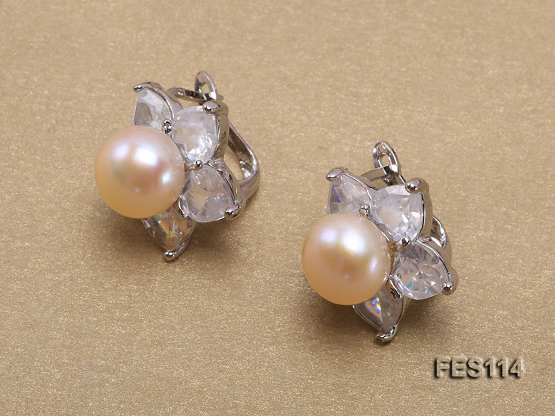 Flower-shaped Pink Freshwater Pearl Earrings big Image 2