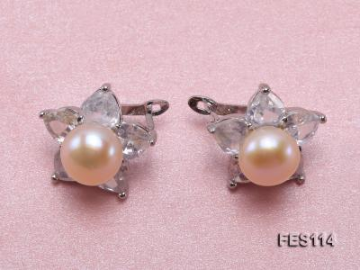 Flower-shaped Pink Freshwater Pearl Earrings FES114 Image 1