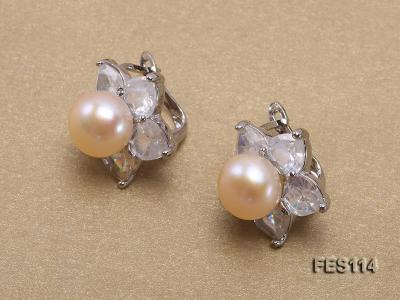Flower-shaped Pink Freshwater Pearl Earrings FES114 Image 2