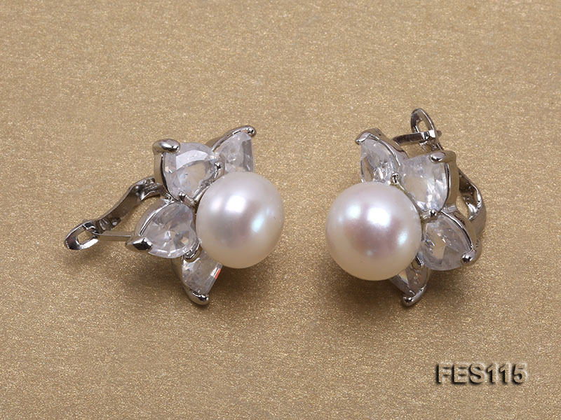 Flower-shaped white Freshwater Pearl Earrings big Image 4