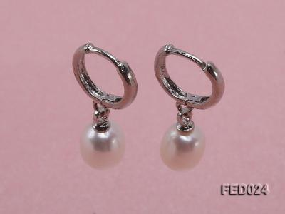 7x9mm White Oval Freshwater Pearl Earrings FED024 Image 1