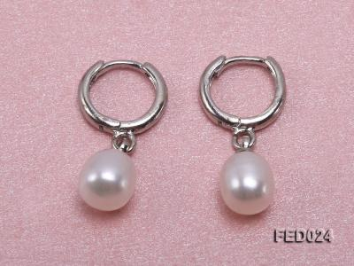 7x9mm White Oval Freshwater Pearl Earrings FED024 Image 2