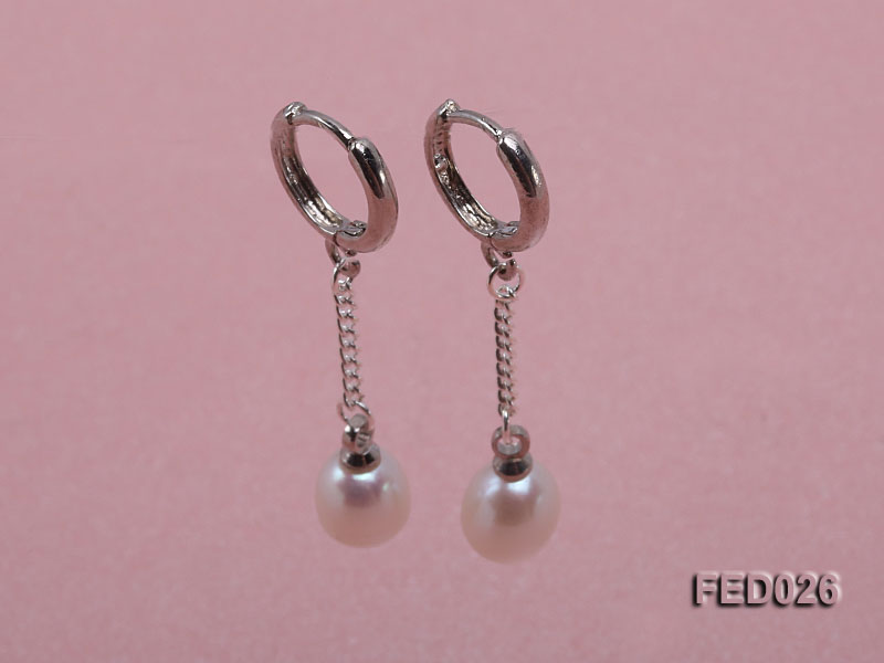 7x9mm White Drop-shaped Freshwater Pearl Earrings big Image 1
