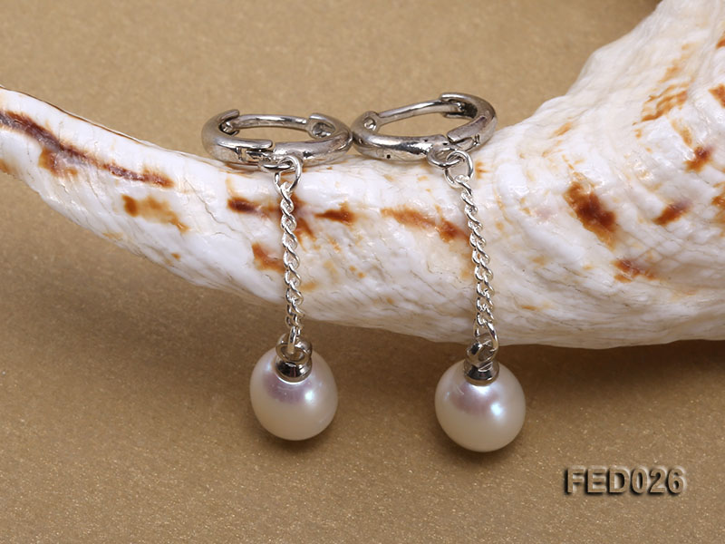7x9mm White Drop-shaped Freshwater Pearl Earrings big Image 3