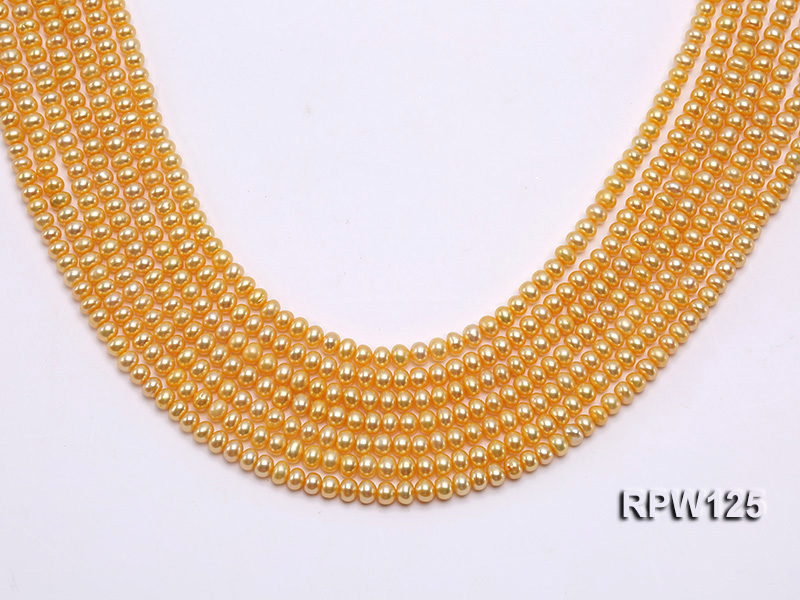 Wholesale 5mm Golden Round Freshwater Pearl String big Image 1