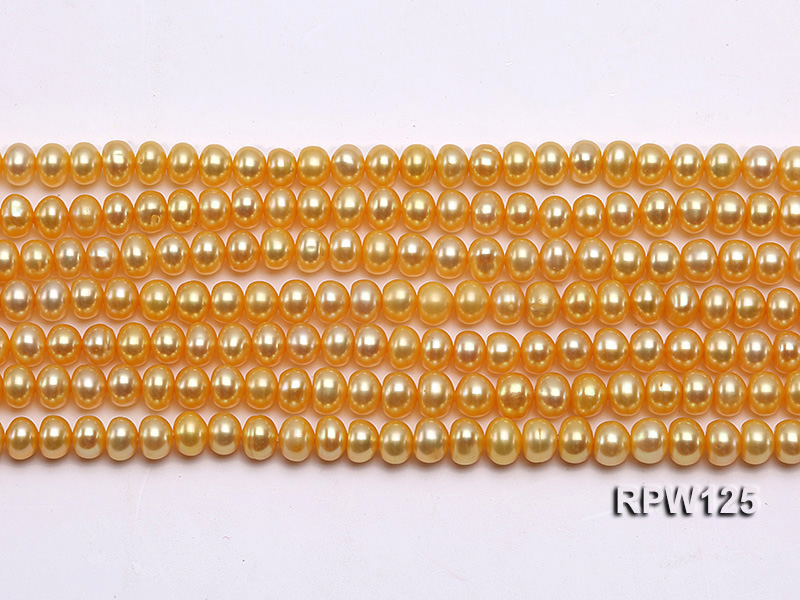 Wholesale 5mm Golden Round Freshwater Pearl String big Image 2