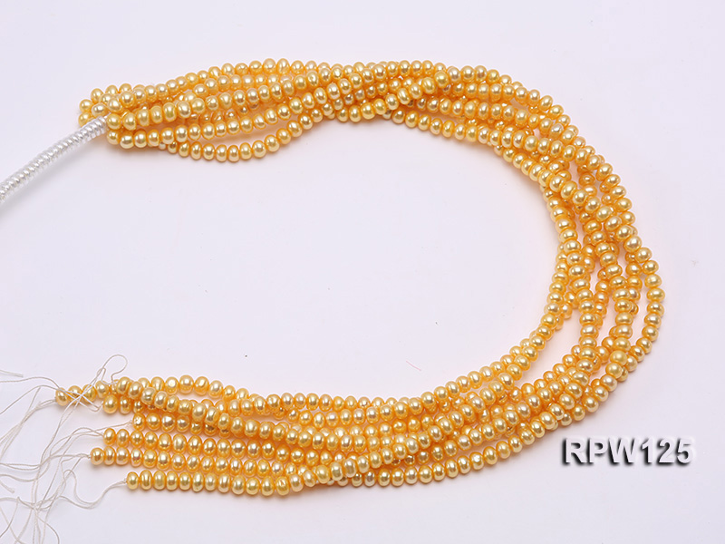 Wholesale 5mm Golden Round Freshwater Pearl String big Image 3