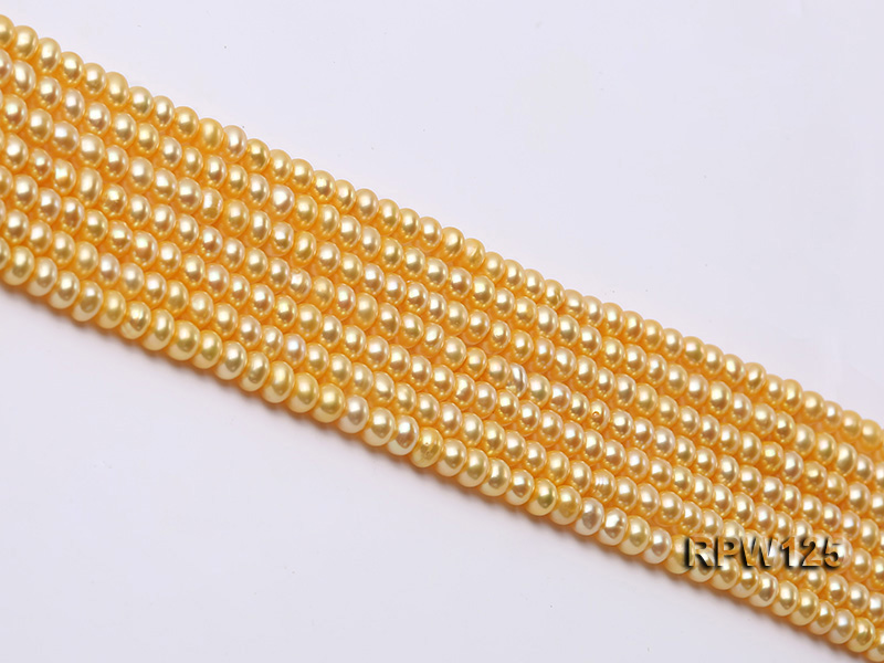 Wholesale 5mm Golden Round Freshwater Pearl String big Image 4
