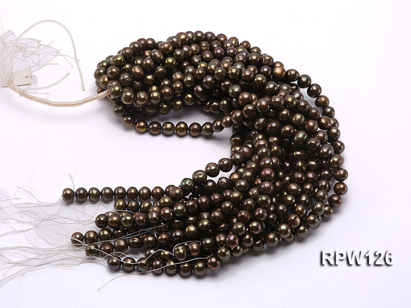 Wholesale 10-11mm Peacock Round Freshwater Pearl String big Image 3
