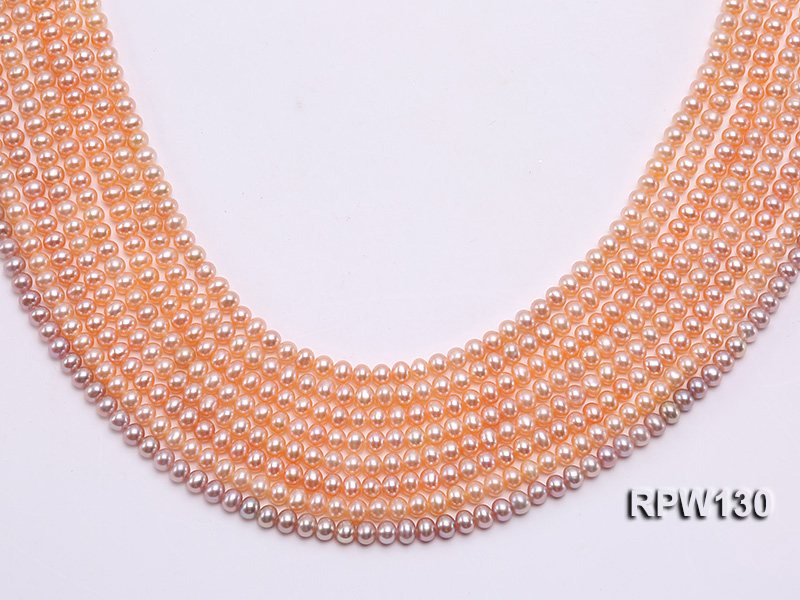 Wholesale 5mm Pink Round Freshwater Pearl String big Image 1