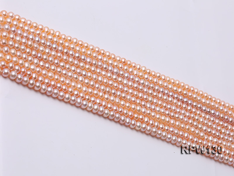 Wholesale 5mm Pink Round Freshwater Pearl String big Image 3