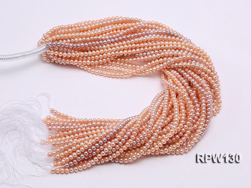 Wholesale 5mm Pink Round Freshwater Pearl String big Image 4