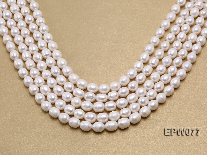 Wholesale 7x8mm A grade White Rice-shaped Freshwater Pearl String big Image 1