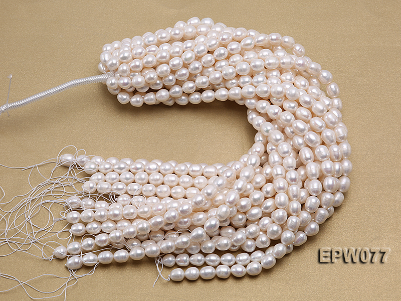 Wholesale 7x8mm A grade White Rice-shaped Freshwater Pearl String big Image 4